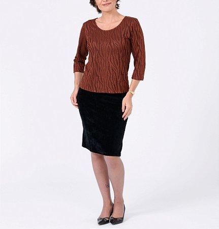 Blusa básica manga ¾ tricot Fauna Bicolor