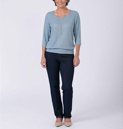 Blusa blusê manga ¾ tricot Palha