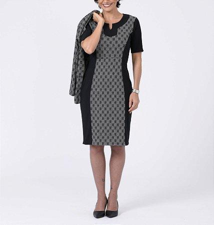 Vestido ottoman c/ detalhe jacquard Azulejo