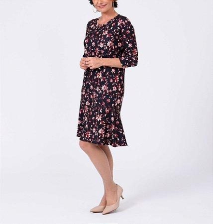 Vestido polielastano reto com babado manga ¾ estampa Flor Estilizada
