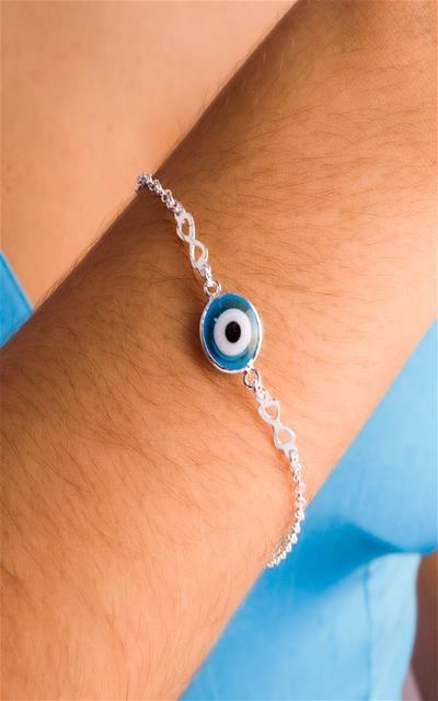 Pulseira infinito e olho grego nomeio prata 925