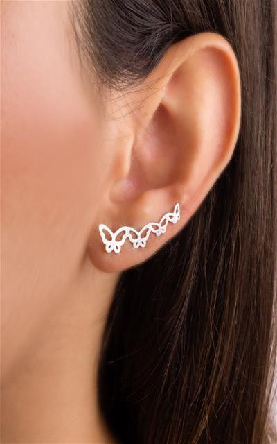 Brinco ear cuff quatro borboletas prata 925