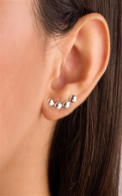 Brinco ear cuff quatro circulo prata 925
