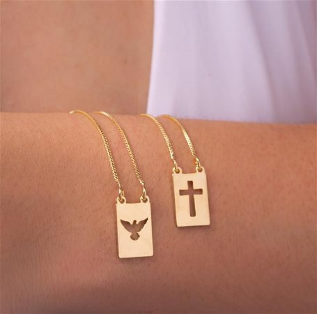 Colar escapulário cruz e divino