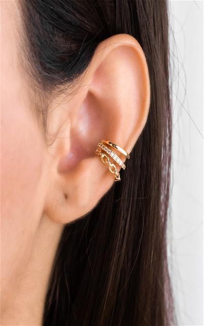 Piercing estilo leque fio corrente, cravejada e lisa
