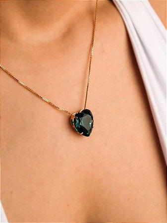 Colar  veneziana coração de esmeralda