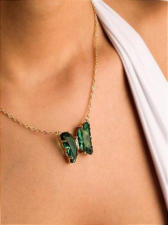 Colar corrente com borboleta de zircônia verde