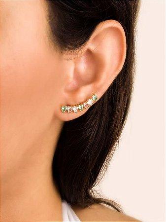Brinco ear cuff corações de zircônias coloridas  cores claras