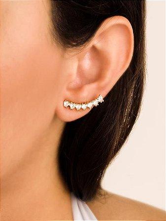 Brinco ear cuff corações de zircônias