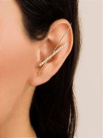 Brinco ear pin com uma carreira de zircônia