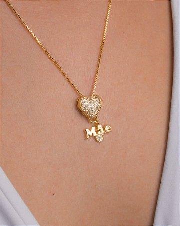 Colar mãe com coração com zircônias cristais
