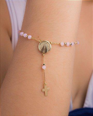 Pulseira terço Nossa Senhora Cristais Swarovski rosa
