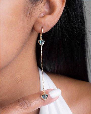 Brinco mini argola com veneziana e coração de zircônia aquamarine