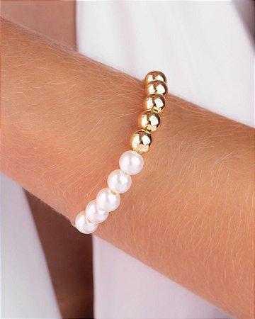 Pulseira bracelete de pérolas e bolas lisas