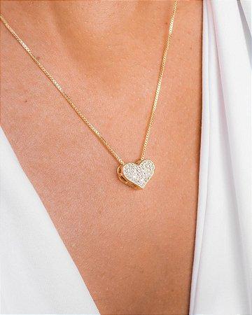 Colar veneziana com pingente médio de coração cravejado