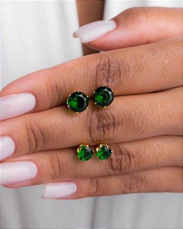 Brinco de zircônia verde esmeralda