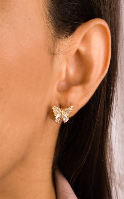 Brinco borboleta cravejada de zircônia