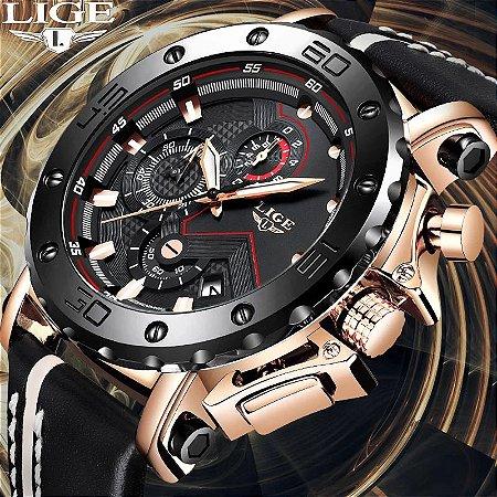 Relógio Masculino Esportivo Militar - LIGE Relógio Quartz de Luxo