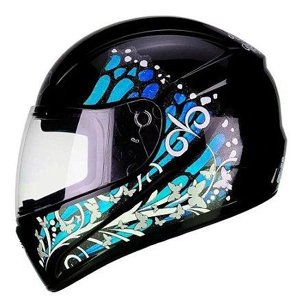 Capacete Fly F9 Butterfly Preto/Azul