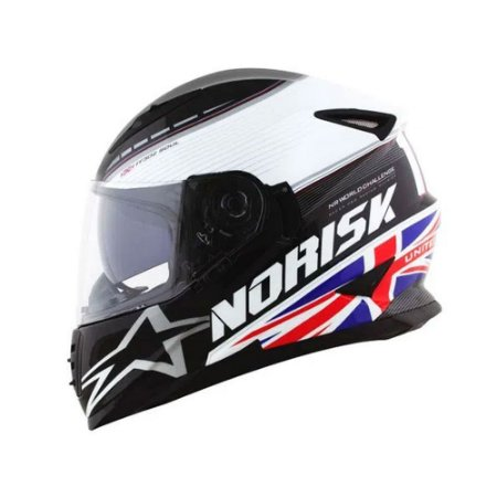 CAPACETE NORISK FF302 GRAND PRIX UNITED KINGDOM C/OCULOS