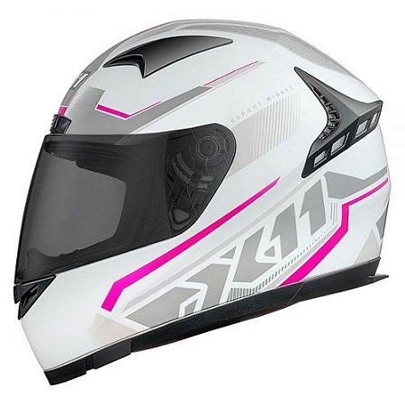 CAPACETE X11 VOLT DASH BRANCO COM ROSA