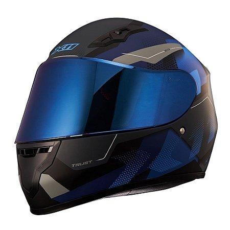 Capacete X11 Trust Pro Transit Azul/Cinza