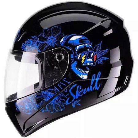 Capacete Fly F9 Dj Skull Preto/Azul