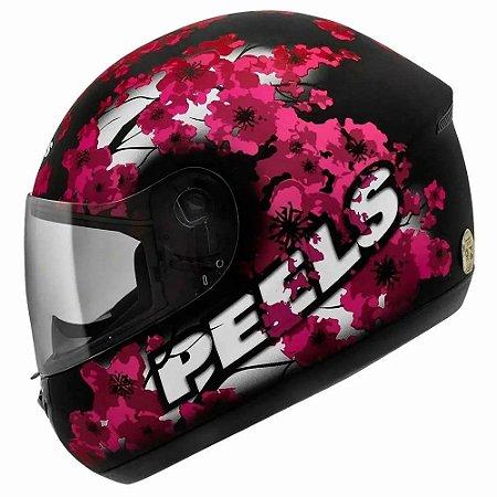 Capacete Peels Spike Blossom Preto Fosco/Magenta