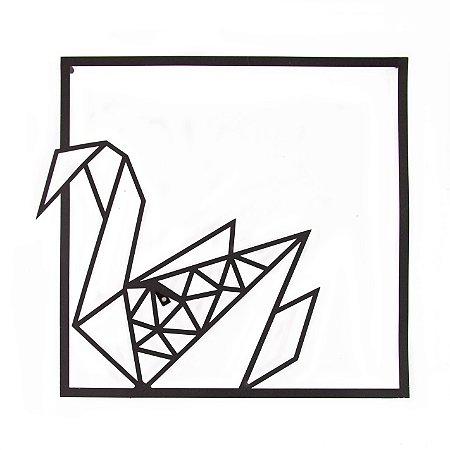 Escultura de Parede Origami Geométrico Cisne Esquerda Aço Galvanizado