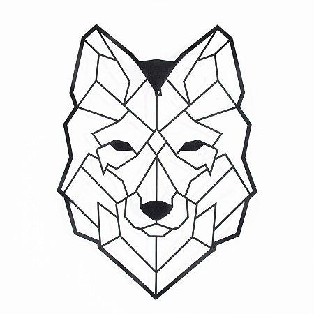 Escultura de Parede Origami Geométrico Lobo Aço Galvanizado