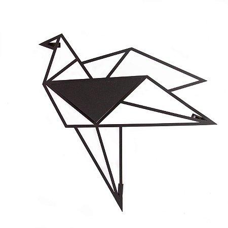 Escultura de Parede origami Geométrico Pássaro Voando 3 Aço Galvanizado