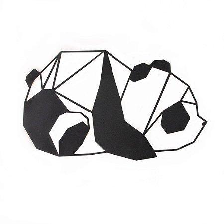 Escultura de Parede Origami Geométrico Panda Aço Galvanizado