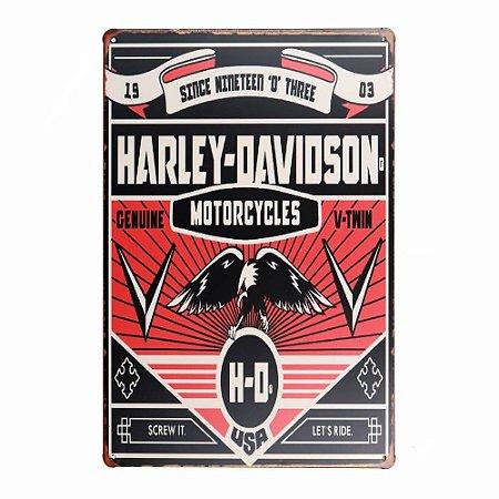 Placa em Metal Vintage de Motos 30cm x 20cm Harley12