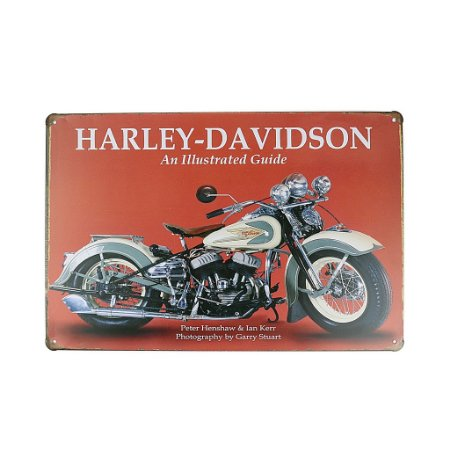 Placa em Metal Vintage de Motos 30cm x 20cm Harley 14