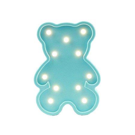 Luminária Ursinho Azul com LED Decoração 25cm x 17,5cm
