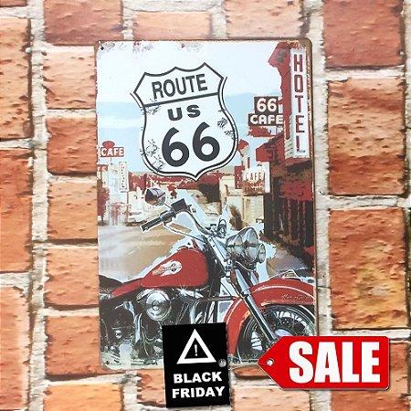 Placa em Metal Vintage Rota 66 30cm x 20cm Rota664