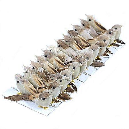 24 Unid. Passarinho Artificial Penas Naturais Marrom 7,5 cm