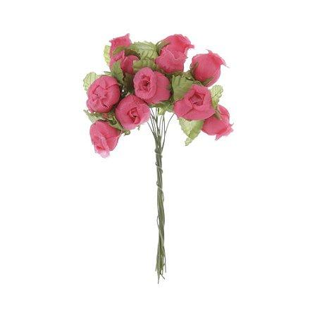 72 Unidades Mini Botão de Rosa em Cetim Rosa Pink