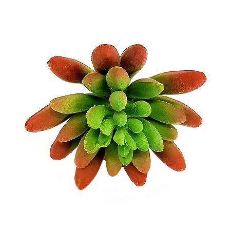 Suculenta Dedo de Moça em Silicone Verde Outonado