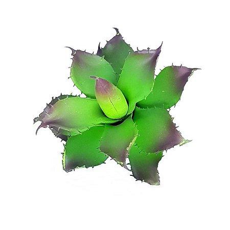 Suculenta Agave em Silicone Verde e Roxo