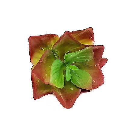Suculenta Rosa de Pedra em Silicone Verde Outonado