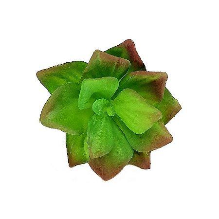 Suculenta Rosa de Pedra em Silicone Verde Mesclado