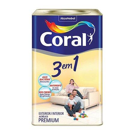 Coral  3 Em 1  Acrílica Fosco Premium 18L - Branco Neve