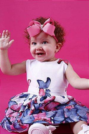 Vestido Borboletas Barrado Baby