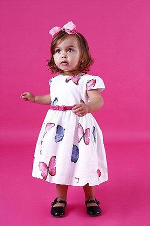 Vestido Taci Borboletas com Cinto Baby