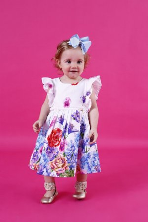 Vestido Floral Colorido Barrado Baby