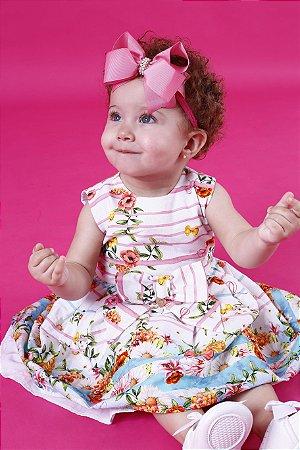 Vestido Floral Listras Baby