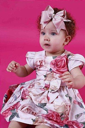 Vestido Taci Rosas Manga Tulipa Baby