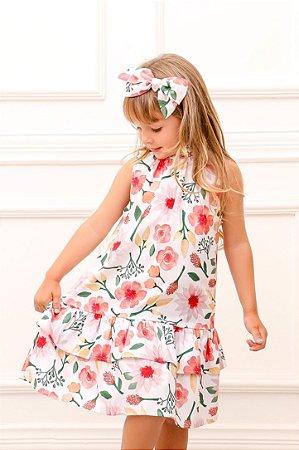 Vestido Taci Flores Trapézio