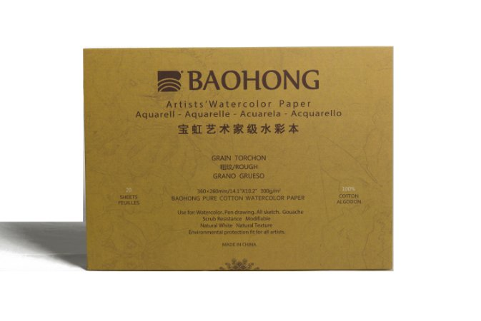 Bloco para aquarela Baohong Artists' watercolor Rough - 360x260mm 300gsm 20 folhas